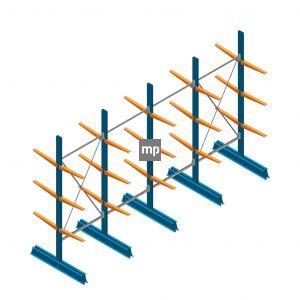 Voordeelrij MP Draagarmstelling Dubbelzijdig 2500x4100x500mm (hxbxd) 3 niveaus 150kg