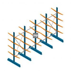 Voordeelrij MP Draagarmstelling Dubbelzijdig 2500x4100x500mm (hxbxd) 4 niveaus 150kg