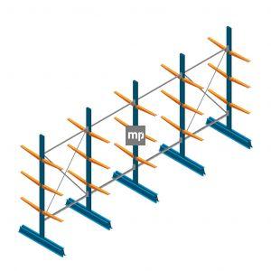 Voordeelrij MP Draagarmstelling Dubbelzijdig 2500x5100x500mm (hxbxd) 3 niveaus 150kg