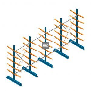 Voordeelrij MP Draagarmstelling Dubbelzijdig 2500x5100x500mm (hxbxd) 5 niveaus 150kg