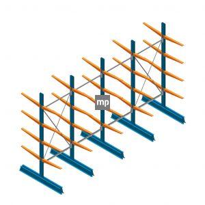 Voordeelrij MP Draagarmstelling Dubbelzijdig 2500x4100x600mm (hxbxd) 4 niveaus 150kg