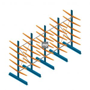 Voordeelrij MP Draagarmstelling Dubbelzijdig 2500x4100x600mm (hxbxd) 5 niveaus 150kg