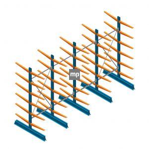 Voordeelrij MP Draagarmstelling Dubbelzijdig 2500x4100x600mm (hxbxd) 6 niveaus 150kg