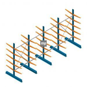 Voordeelrij MP Draagarmstelling Dubbelzijdig 2500x5100x600mm (hxbxd) 5 niveaus 150kg