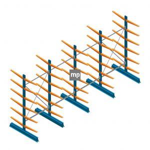 Voordeelrij MP Draagarmstelling Dubbelzijdig 2500x5100x600mm (hxbxd) 6 niveaus 150kg