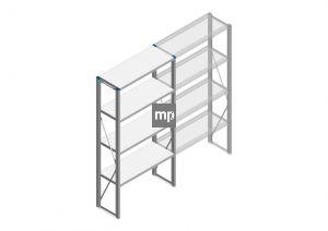 Beginsectie Nedcon SF Legbordstelling 2000x970x400mm hxbxd 4 niveaus Metaal Verzinkt 200kg Enkel
