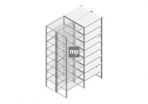 Aanbouwsectie Nedcon SF Legbordstelling 3000x970x1200mm hxbxd 8 niveaus Metaal Verzinkt 200kg Dubbel
