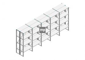 Voordeelrij Nedcon SF Legbordstelling 2200x5030x800mm hxbxd 4 niveaus Metaal Verzinkt 200kg Dubbel