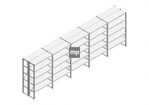Voordeelrij Nedcon SF Legbordstelling 2000x6280x800mm hxbxd 5 niveaus Metaal Verzinkt 175kg Dubbel