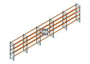 Voordeelrij Nedcon Palletstelling 4000x18600x1100mm hxbxd CC13050/1006820 5secties 4niveaus 2650kg/niv
