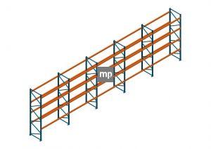 Voordeelrij Nedcon Palletstelling 4000x14100x1100mm hxbxd CC11040/1007825 5secties 4niveaus 2500kg/niv