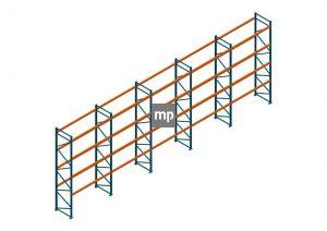 Voordeelrij Nedcon Palletstelling 5000x14100x1100mm hxbxd CC13040/1007825 5secties 4niveaus 3150kg/niv