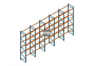Voordeelrij Nedcon Palletstelling 5000x9725x1100mm hxbxd CC09040/1007825 5secties 5niveaus 2750kg/niv