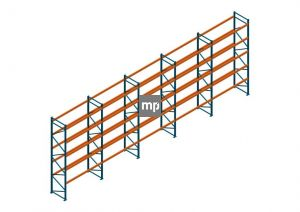 Voordeelrij Nedcon Palletstelling 5000x14100x1100mm hxbxd CC13040/1007825 5secties 5niveaus 3150kg/niv