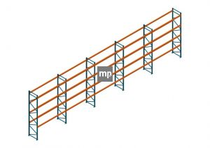Voordeelrij Nedcon Palletstelling 5500x18600x1100mm hxbxd CC15050/1007825 5secties 4niveaus 3800kg/niv