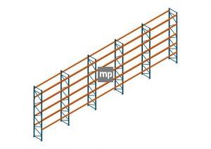 Voordeelrij Nedcon Palletstelling 6500x18600x1100mm hxbxd CC13050/1007825 5secties 5niveaus 2650kg/niv