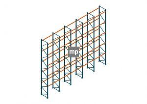 Voordeelrij Nedcon Palletstelling 8000x9725x1100mm hxbxd CC09040/1007825 5secties 5niveaus 2500kg/niv
